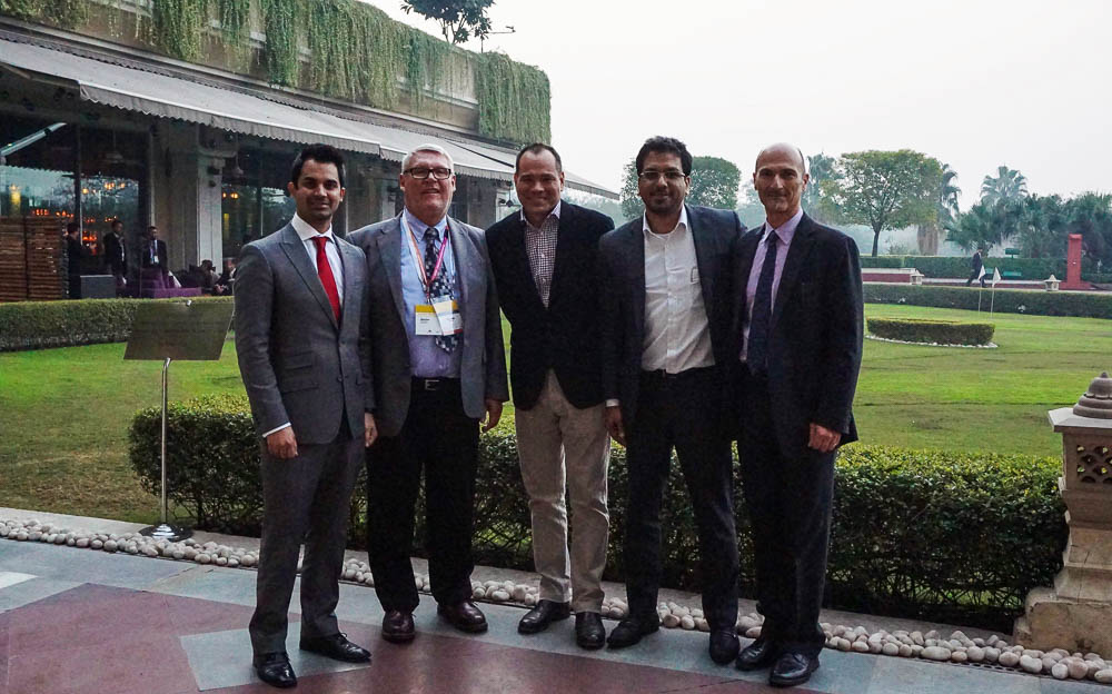 From left, Ashish Sharma (Austrade Business Development Manager) Mark Eyre of MetroCount, Greyson Perry (Austrade Trade Commissioner), Kamran Khan (Austrade Business Development Manager) and Maurice Berger of MetroCount.